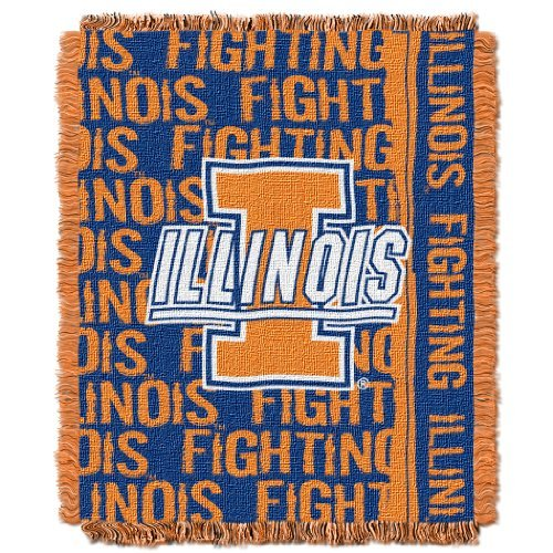 Acrylic Fighting Illini Football (NCAA Illinois Illini Double Play Jacquard Throw, 48