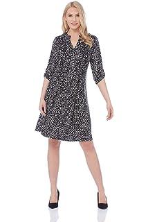 f9338d89f4 Roman Originals Women Fit and Flare Spot Shirt Little Black Dress - Ladies  Daytime Skater Vintage Polka Dot Print Work…