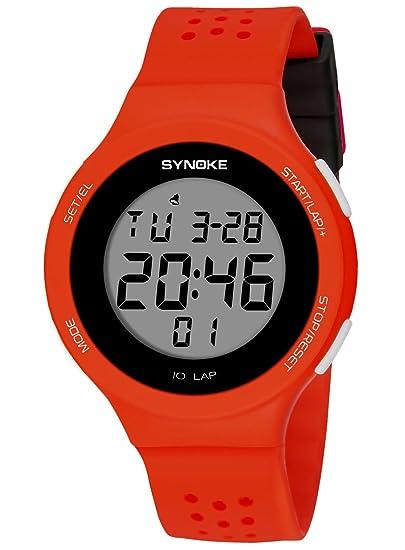 SYNOKE - Reloj Impermeable Digital Deportivo Unisex Hombre Mujer Adolescentes Estudiantes Chicos Reloj de Pulsera Luminoso LED Alarma Date ...