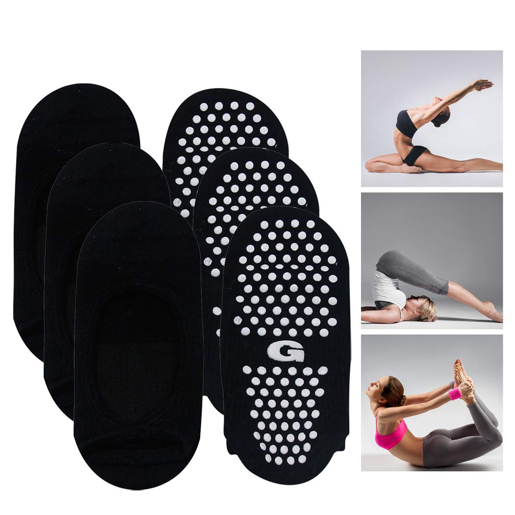 Non Slip Skid Socks with Grips, Gmark Women's Ballet Style Socks Great for Barre Pilates Yoga with Non Skid Grips Pack of 3 Small