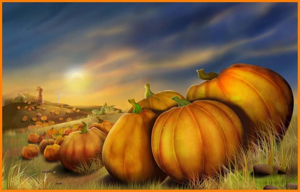 フィールドのPumpkins on Hills with a Scarecrow – ビニールStained Glass Film , Static Cling Window Decal 21 in x 33 in B009OX75RK 21 in x 33 in