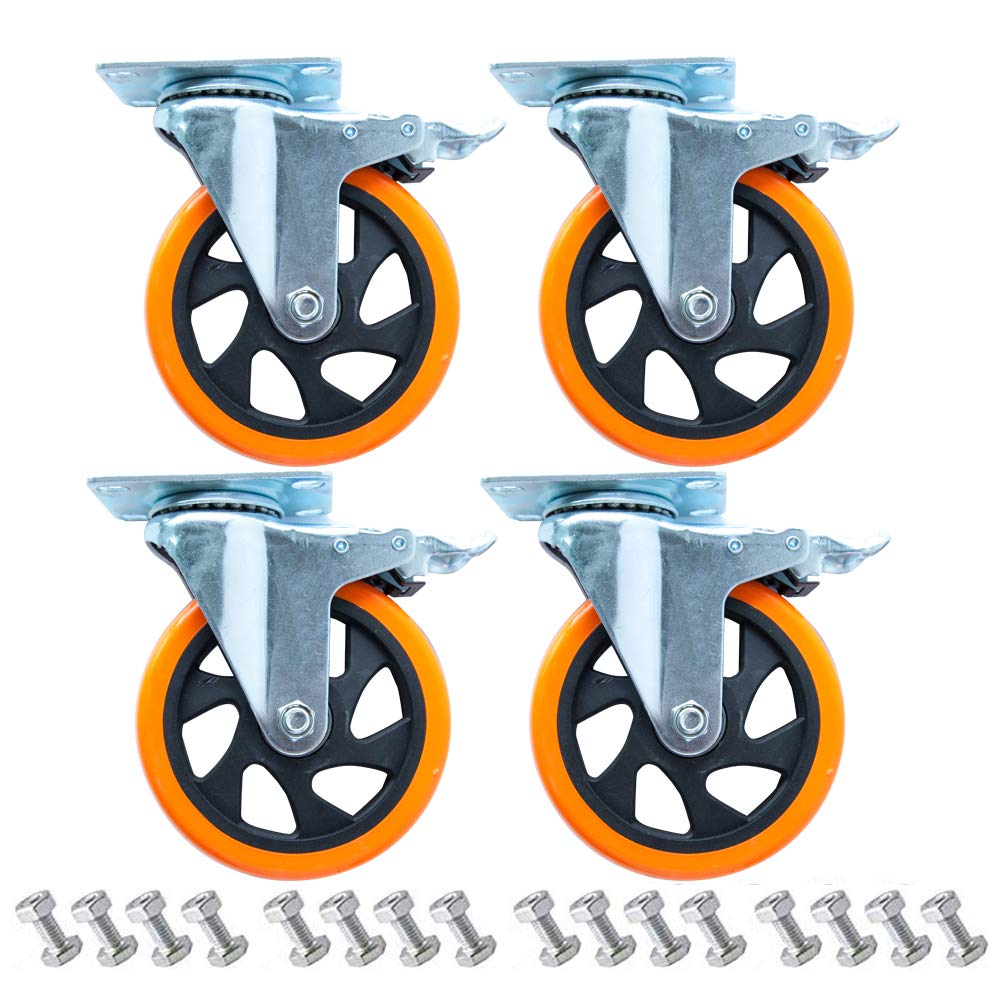 D&L 5 Inch Plate Casters Wheels 1800lbs Heavy Duty Casters with Brake Polyurethane Dual Locking Casters Set of 4 Orange DL-I5-001