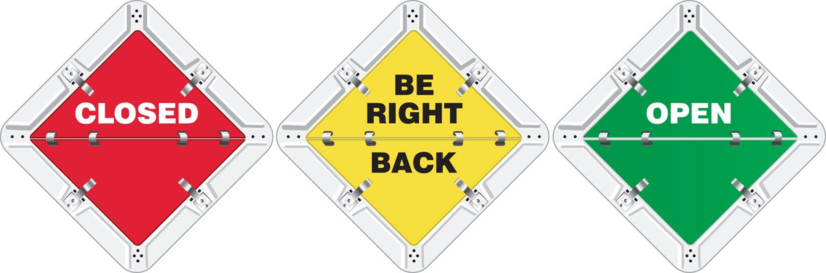 Closed / Be Right Back / Open 10.75X10.75 Adhesive Vinyl Sign