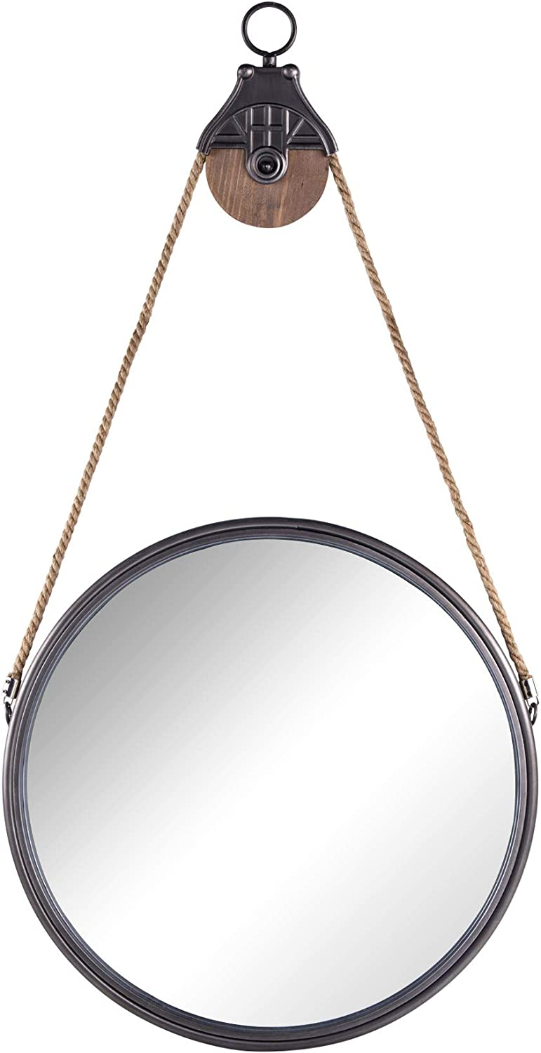"NIKKY HOME Vintage Metal Hanging Round Wall Mounted Mirror with Rope, Gray 21.06"" x 1.97"" x 40.16"""