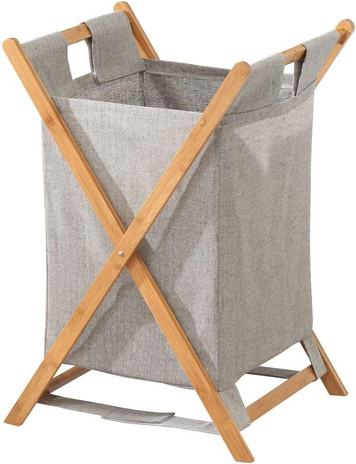 Natural Finish X Frame Portable and Collapsible Folding Clothes Basket Storage with Removable Poly//Cotton Liner Fabric Bag mDesign Bamboo Wood Laundry Hamper Sorter Cart