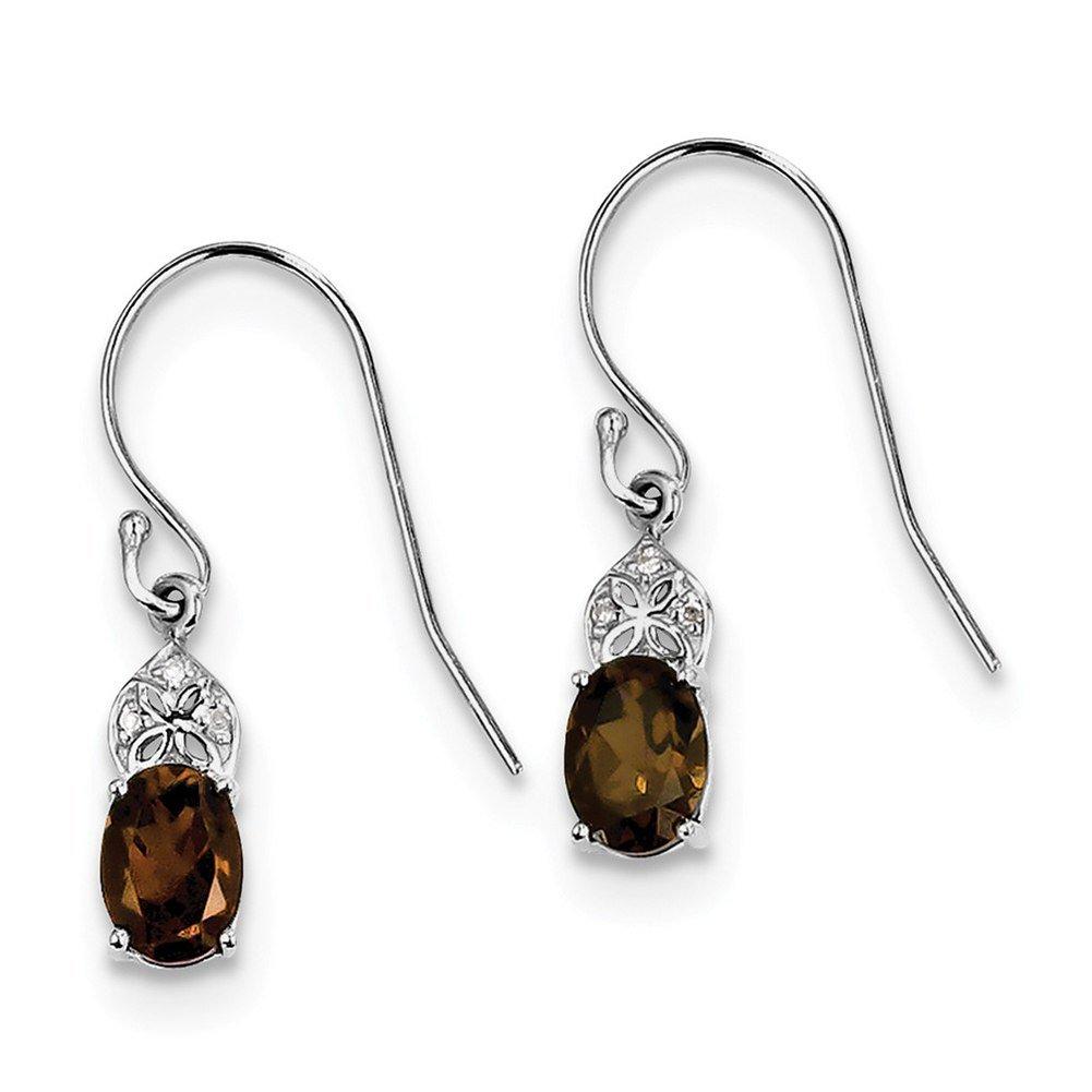 Lex & Lu Sterling Silver Diamond & Smoky Quartz Oval Earrings-Prime