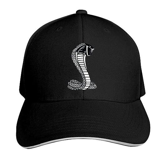 397f6e2b0cbddc Image Unavailable. Image not available for. Color: ADBOSS Black Mustang  Cobra Adjustable Baseball Caps Vintage Sandwich Hat ...