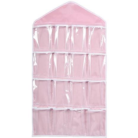 Bolsa transparente para colgar con 16 bolsillos, para colgar en la puerta, zapatero para colgar ropa interior, calcetines, sujetadores, ...