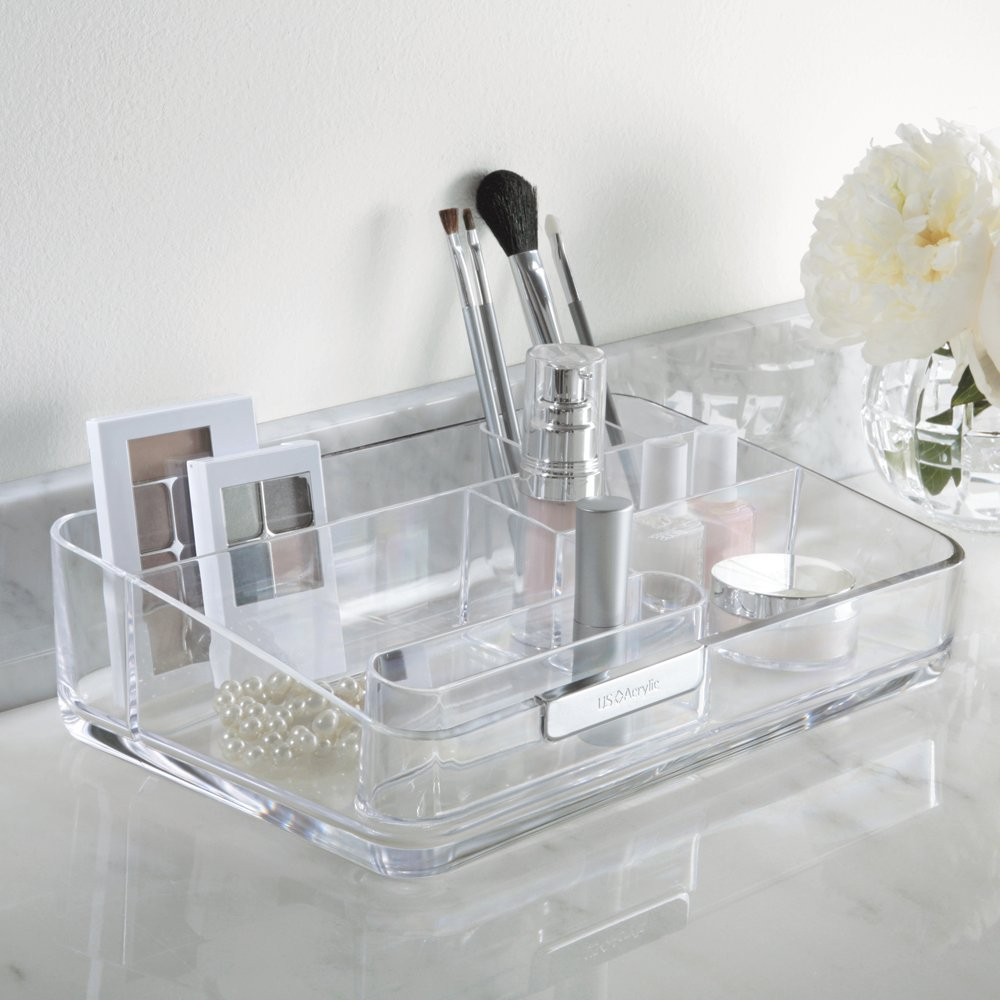 Bathroom makeup organizers - Amazon Com U S Acrylic Signature Collection Large Makeup Organizer With Removable Compartment Home Kitchen