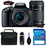 Canon EOS Rebel T7i Camera, EF-S 55-250 IS STM Lens Kit + SanDisk 32GB SD Memory Card + Accessory Bundle