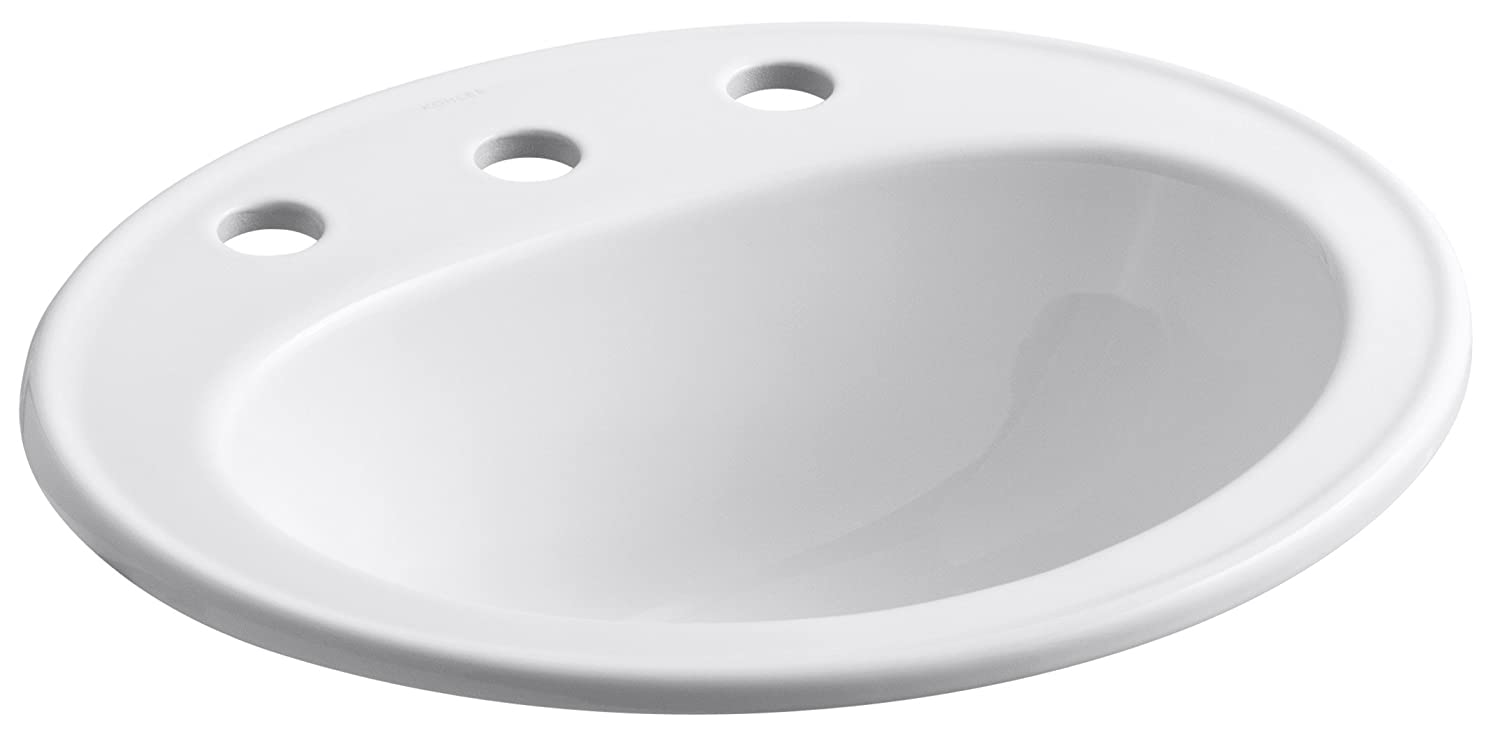 KOHLER K-2196-8-0 Pennington Self-Rimming Bathroom Sink, White