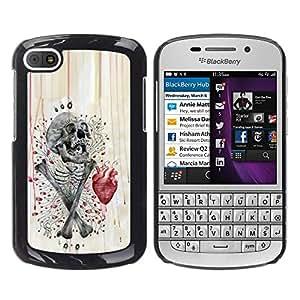 Shell-Star Arte & diseño plástico duro Fundas Cover Cubre Hard Case Cover para BlackBerry Q10 ( Skull Heart Anatomy Crossbones )