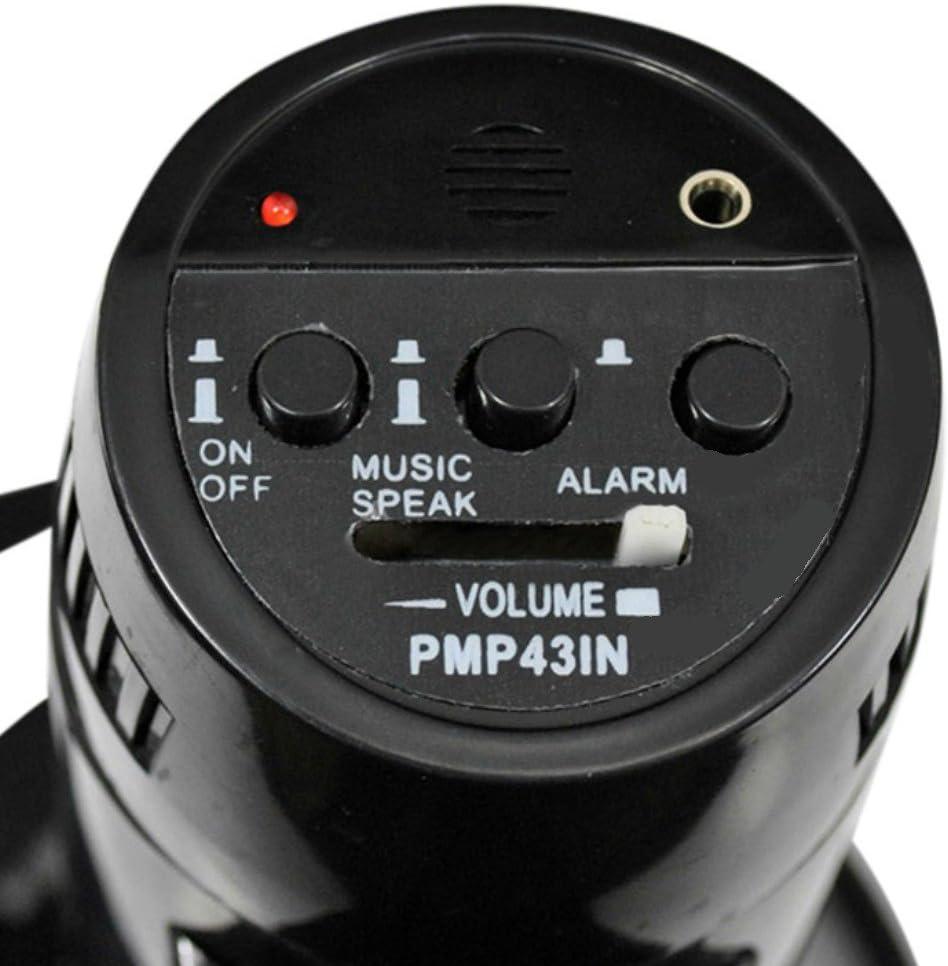 Funciona A Pilas Meg/áfono Pyle pmp43in negro de 40/Watt Max con funci/ón de sirena Acustica a hasta 800/metros con entrada aux Jack 3,5/mm y micr/ófono SEPARATO a hilo y con correa de transporte