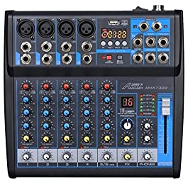 Audio2000'S AMX7322-Professional Six-Channel Audio Mixer with USB Interface, Bluetooth, and DSP Sound Effects (AMX7322)