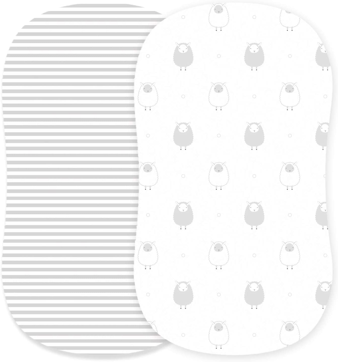 Fits Oval Chicco Adorable Unisex Patterns /& Fitted Elastic Design Halo Cuddly Cubs Bassinet Sheets Set 2 Pack For Boys /& Girls by Soft /& Breathable 100/% Jersey Cotton Grey Sheep /& Stripes