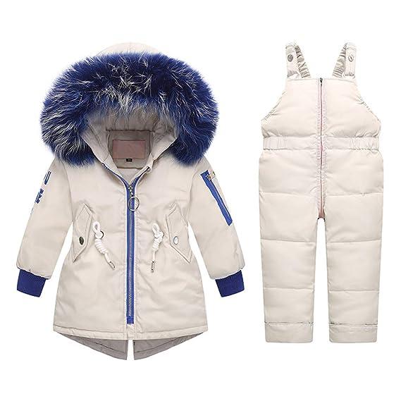 LPATTERN Kinder Jungen Winter Fashion Daunenjacke Winterjacke Weich Daunen Parka mit Unabnehmbarer Kapuze und Pelzkragen