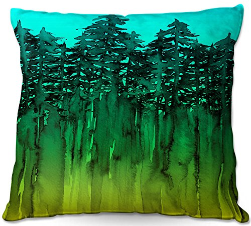 DiaNoche Designs ODP-JuliaDiSanoForestTreesAquaLimeGr4 Forest Trees Aqua Lime Green Outdoor Patio Couch Throw Pillow, 22