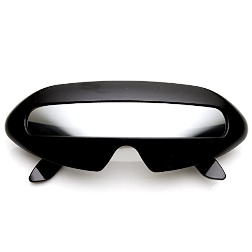 483dd85f58bd Amazon.com  Futuristic Shield Single Lens Oval Party Novelty Cyclops  Costume Wrap Sunglasses (Black Mirror)  Shoes
