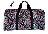 21 in Print Duffle, Overnight, Carry on Bag with Outside Pocket and Shoulder Strap (Blank – Black Paisley) Review