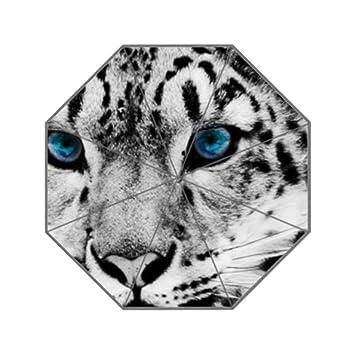 Ojos azules de nieve leopardo S S paraguas tres plegable verde paraguas lluvia mujeres protector solar anti