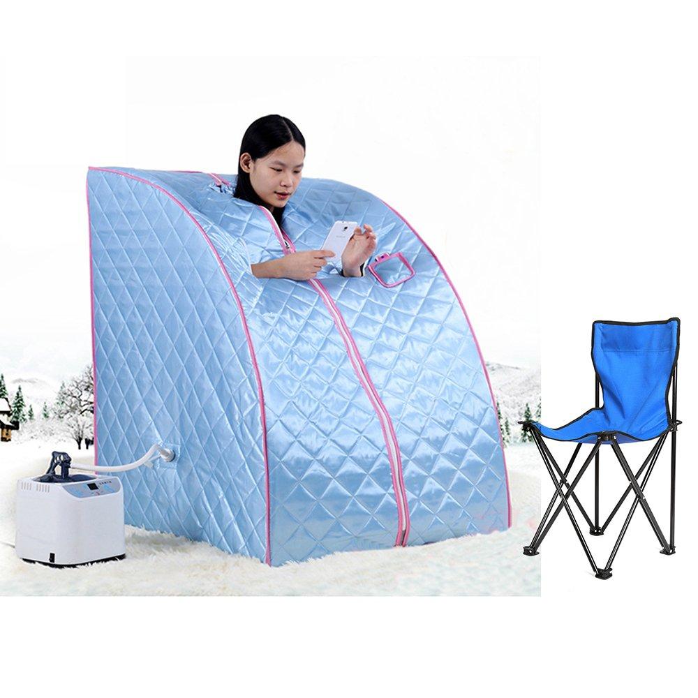 Bain de Vapeur mobile Sauna Box Spa Pliable Ménage à Vapeur Télécommande Température Bleu Vendeur Pro