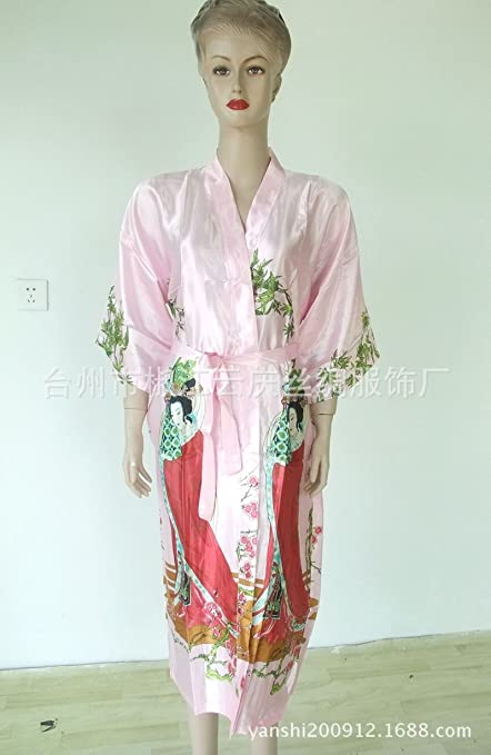 Wanglele La Primavera Y El Verano Vestido De Satén De Seda De Encaje Vestido De Kimono
