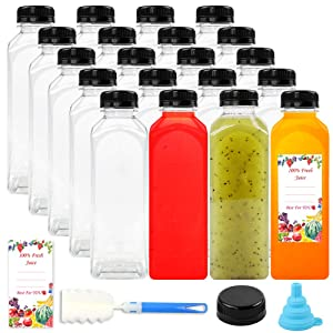 20 Packs Empty PET Plastic Juice Bottles 12 Oz BPA Free Reusable Clear Disposable Containers with Black Tamper Evident Caps Lids for Juice, Milk and Other Beverages