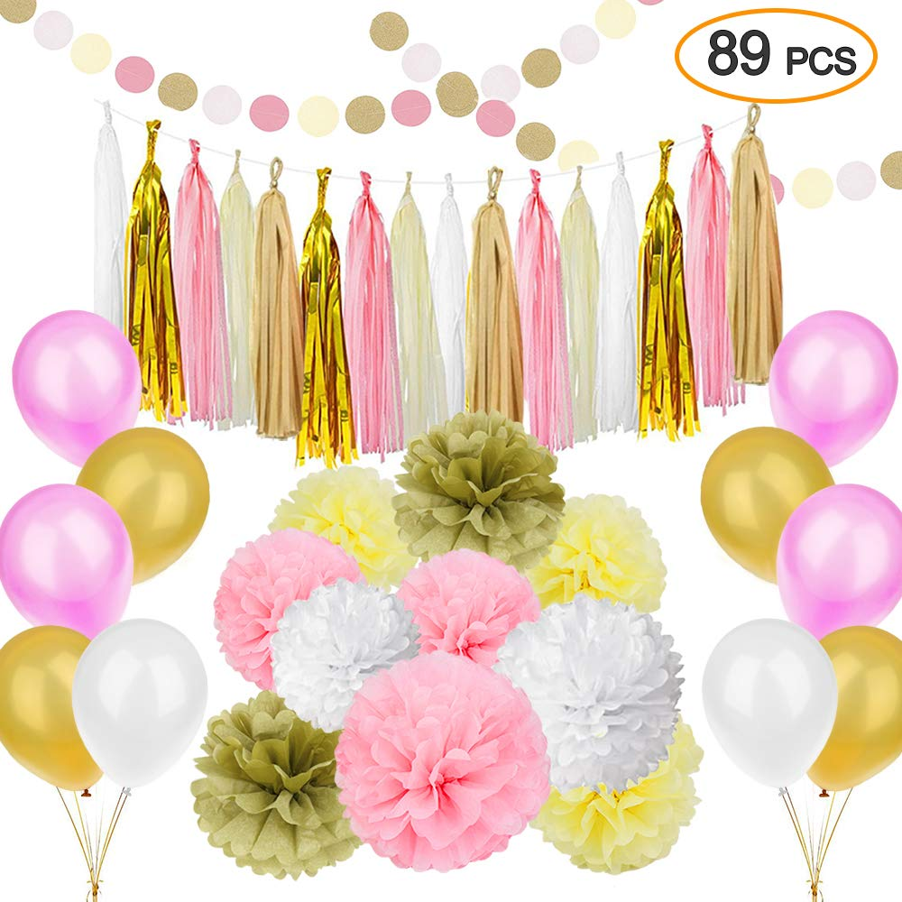 89 pcs Gold Pink Party Decorations Kit SIMPZIA Party Supplies Including Paper Flowers & Tissue Tassel Garland & Party Balloons for Birthday Party,Engagement,Wedding, Baby Showe(DIY) by SIMPZIA