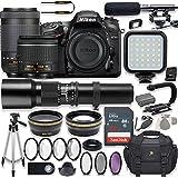 Nikon D7200 24.2 MP DSLR Camera Video Kit with AF-P 18-55mm VR Lens, AF-P 70-300mm ED VR Lens & 500mm Lens + LED Light + 32GB Memory + Filters + Macros + Deluxe Bag + Professional Accessories