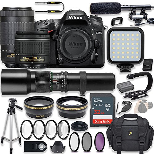 Nikon D7200 24.2 MP DSLR Camera Video Kit with AF-P 18-55mm VR Lens, AF-P 70-300mm ED VR Lens & 500mm Lens + LED Light + 32GB Memory + Filters + Macros + Deluxe Bag + Professional Accessories