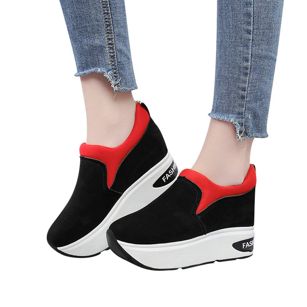 Women's Outdoor Suede Walking Shoes Wedge Slip On Platform Thick-Soled Increase Shake Shoes (Red, US:7.0)