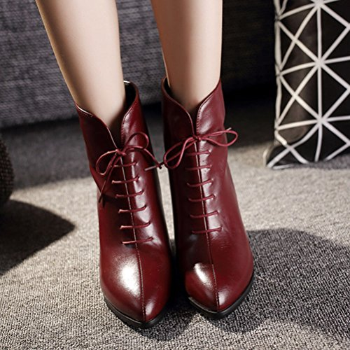 HiTime Ladies Vintage Pointed Toe Western Bootie Back Zipper Stilettos OL Short Boots Size 2-10 Red izzl8wDi