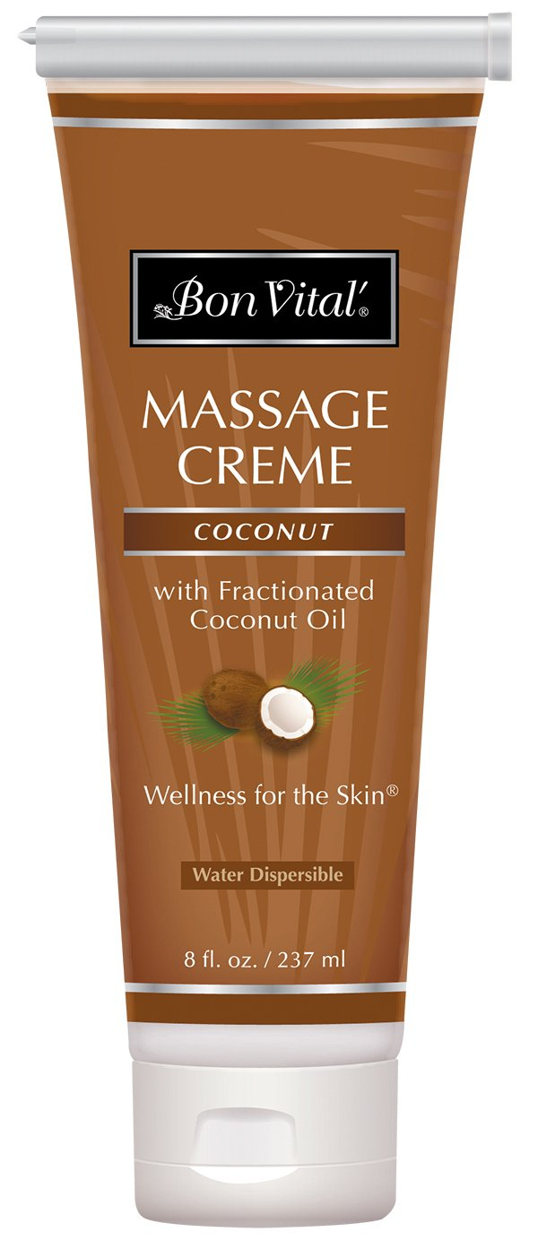 Bon Vital' Coconut Massage Crème Made with 100% Pure Fractionated Coconut Oil, Massage Cream & Moisturizer to Repair Dry Skin, No Greasy Feel, Anti-Aging Cream for Professional Massage, 8 Ounce Tube