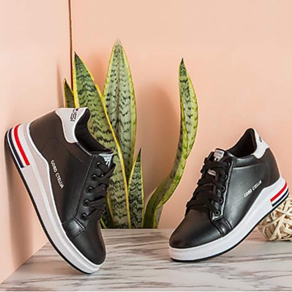 TTSHOES Per Donna Scarpe PU (Poliuretano) Autunno Comoda Sneakers Zeppa Punta Tonda Nero/Verde / Rosa,Black,US6/EU36/UK4/CN36  -