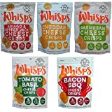 Whisps Cheese Crisps (2.12 ounce) 100% Cheese Low Carb Crunchy Snack Assortment (5 Pack)