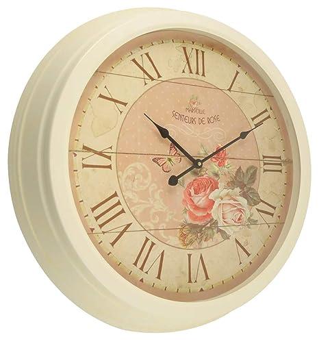 Orologio Rotondo Con Cornice In Ferro Bianco E Sfondo Rosa Antico