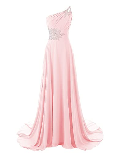 DianSheng Women's One Shoulder Beadings Chiffon Bridesmaid Long Prom Dresses