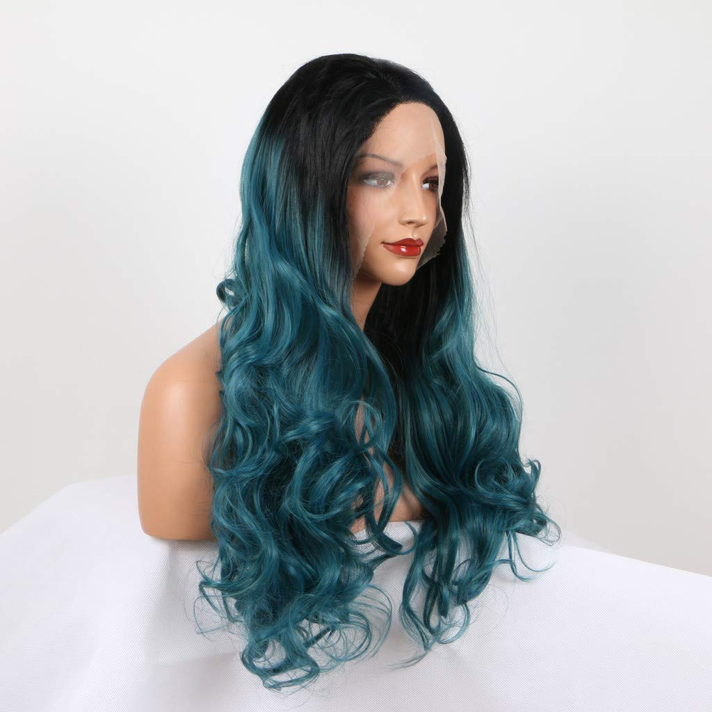 Green Wig Long Wavy Human Hair Wigs for Black Women Curly Lace Front Wig with Baby Hair Synthetic Hair Daily Party Hairpiece 24 inch Clearance!