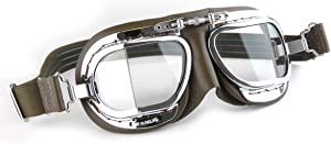HDM Products Mk49 Black Leather Classic Motorcycle Goggles/Classic Flying Goggles