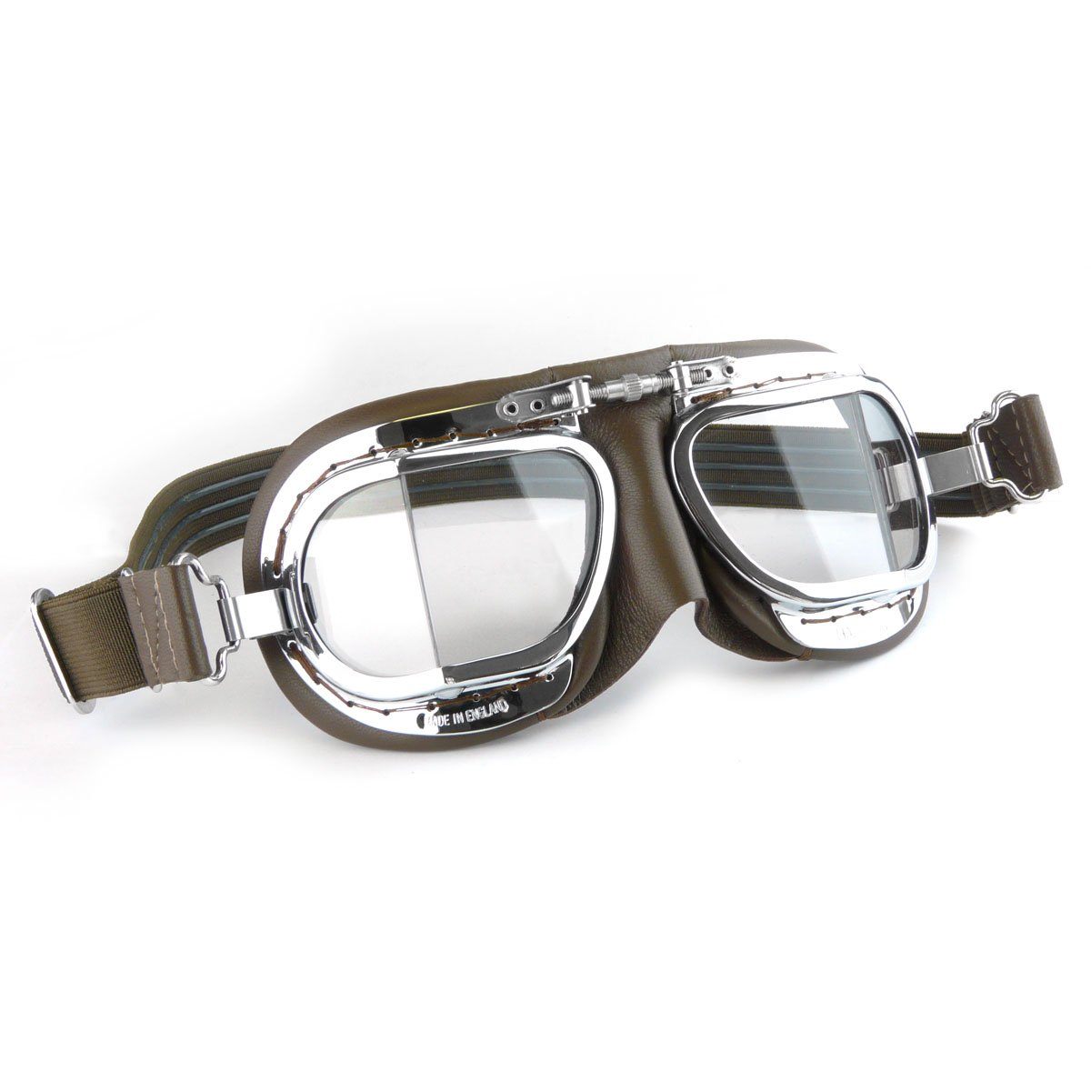 a163f219a23 Halcyon Compact Classic Motorcycle Goggles   Flying Goggles - Brown  Leather  Amazon.co.uk  Car   Motorbike
