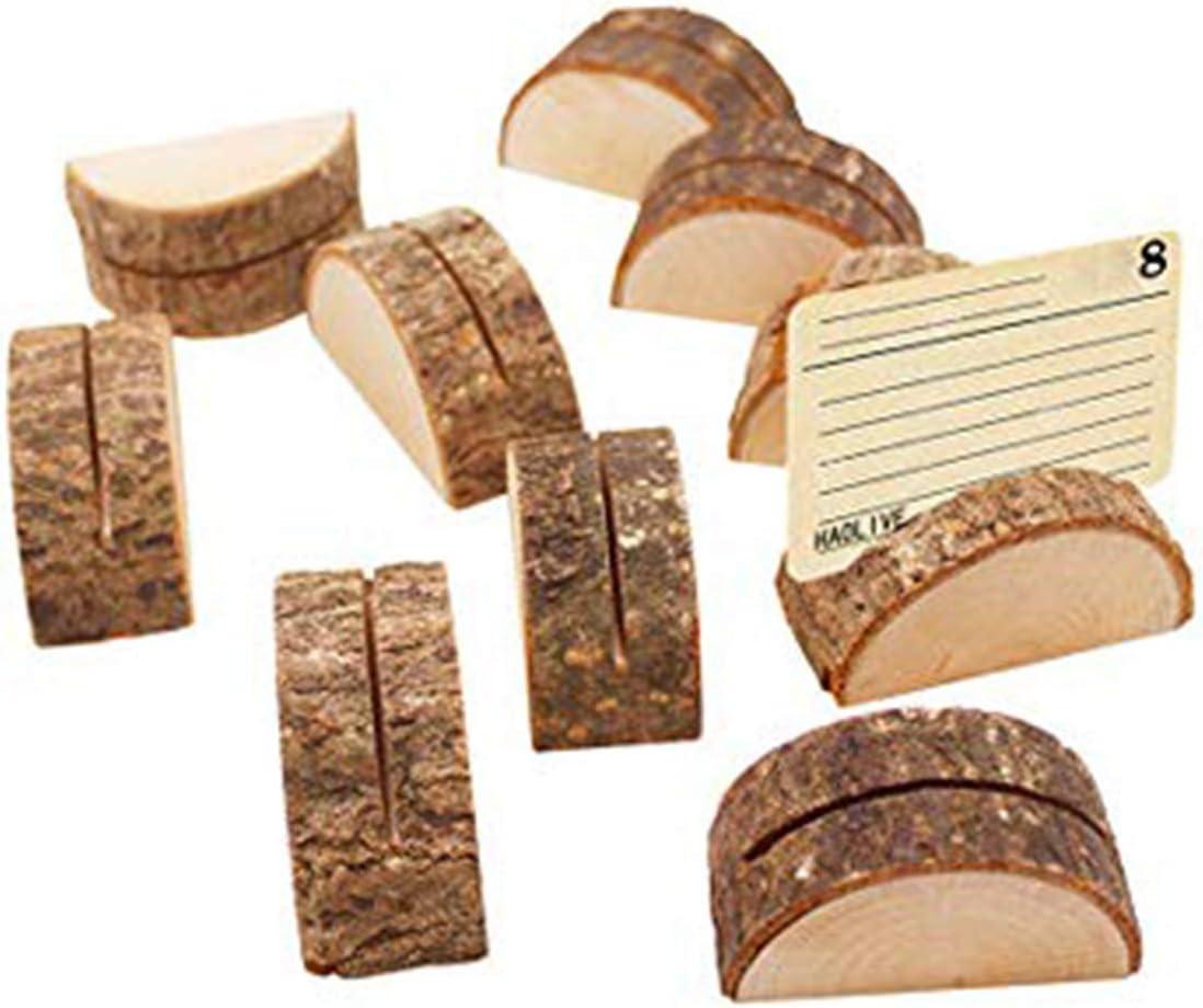 Sprießen 10PCS Decoración de forma semicilíndrica, número de mesa de boda de madera Lugar del lugar Nombre Memo Titular de la tarjeta Tarjeta de mesa creativa Decoración de mesa de hotel/hogar