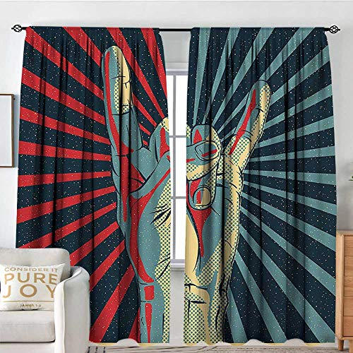 Petpany Blackout Curtains for Bedroom Music,Hand in Heavy Rocker Sign Musical Universal Gesturing Thunder Bolts Party People,Multicolor,Thermal Insulated Darkening Panels for Cafe Windows 100