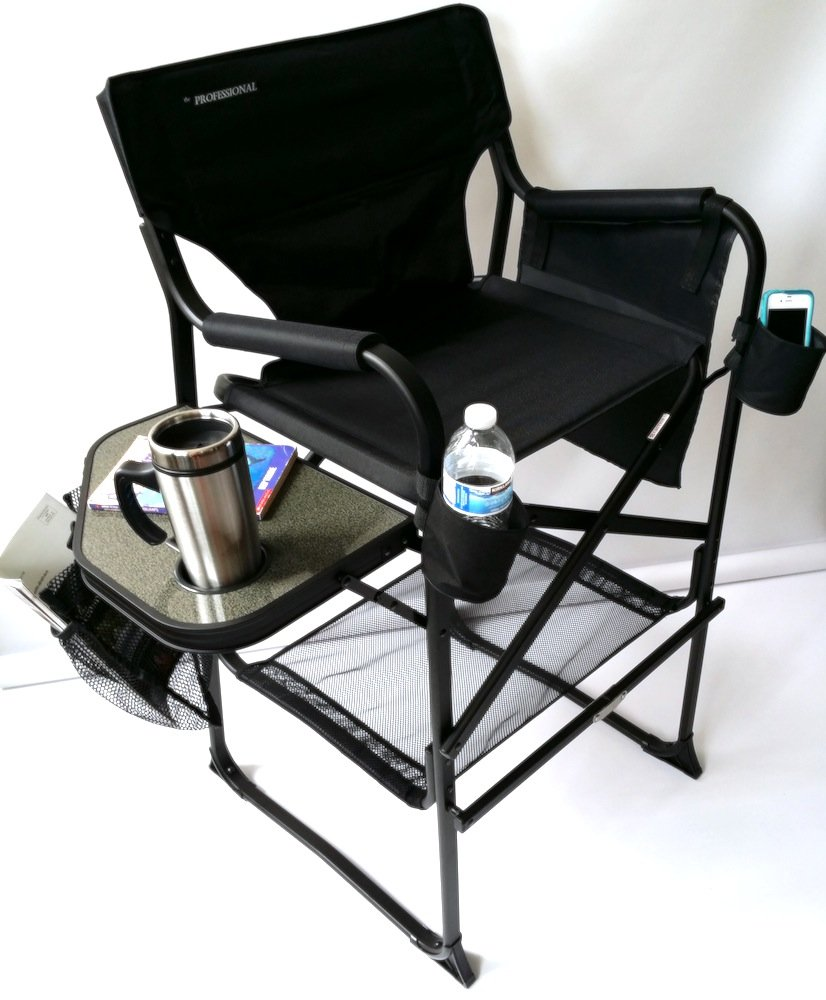 SAME DAY SHIPPING--TUSCANY TALL Heavy-Duty Director Chair W/ CELL PHONE HOLDERS & SIDE POUCHES!!-UNIQUE CONSTRUCTION...A BONUS LED FLASHLIGHT INCLUDED WITH YOUR PURCHASE...