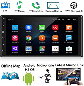 Android 9.1 Double Din 7 Inch Car Stereo, 2.5D Touch Screen Car Radio Multimedia with Bluetooth, in-Dash Autoradio Dual Mirror Link GPS Navigation/WiFi/USB+Offline Map+Microphone