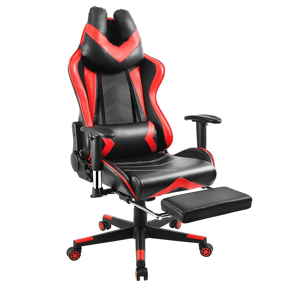 Gaming Chair Computer Office Chair, Vanspace 300lbs High Back Computer Chair PU Leather Executive Desk Chair Full Adjustable Swivel Racing Game Chair with Ergonomic Footrest, Headrest, Lumbar Support by Vanspace