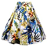 Dressever Women's Vintage A-Line Printed Pleated Flared Midi Skirts Colorful Design Small
