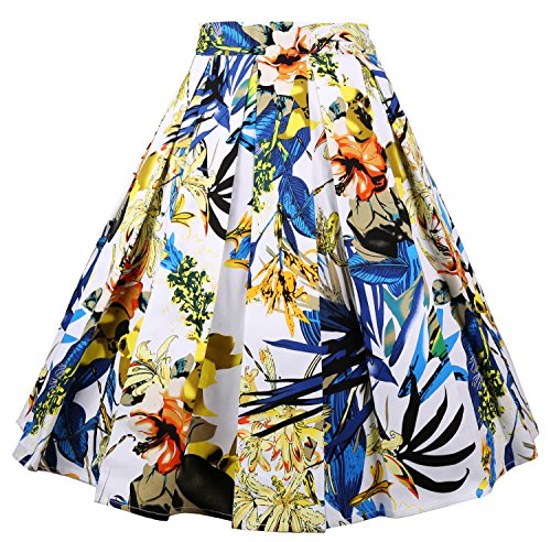 Dressever Women's Vintage A-Line Printed Pleated Flared Midi Skirts Colorful Design ()