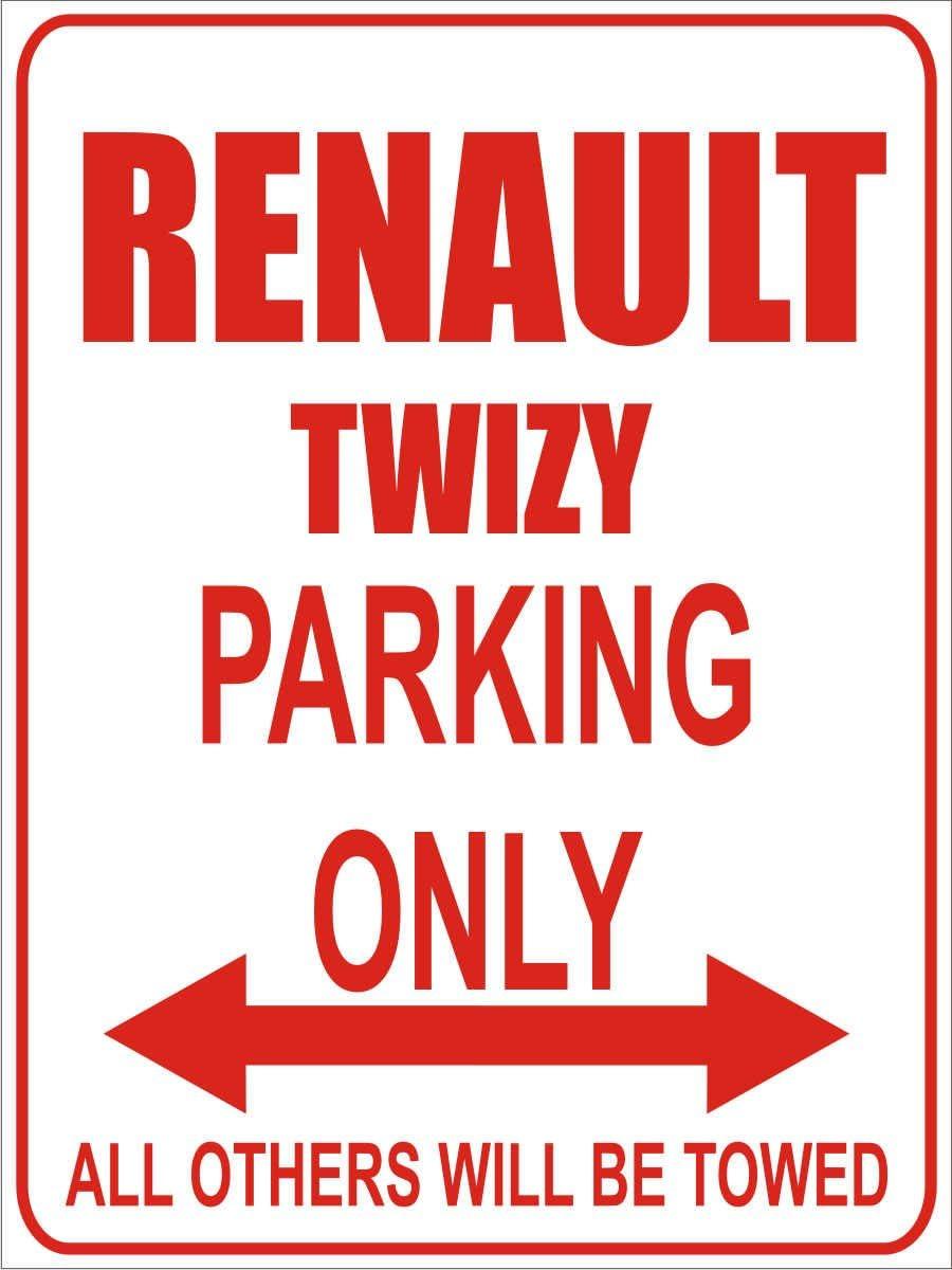 INDIGOS Parkplatz 32x24 cm Parking Only- Wei/ß-Rot Parkplatzschild Renault twizy Parking Only Alu Dibond
