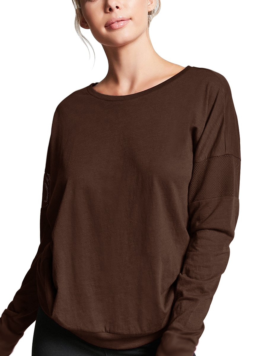 Yucharmyi Women's Yoga Long Sleeve Shirts Scoop Neck Active Reflective Runner Top Active Thumb Hole Tee Long Sleeve Active Racerback Top Silky Long-Sleeve T-Shirt (Coffee, S)