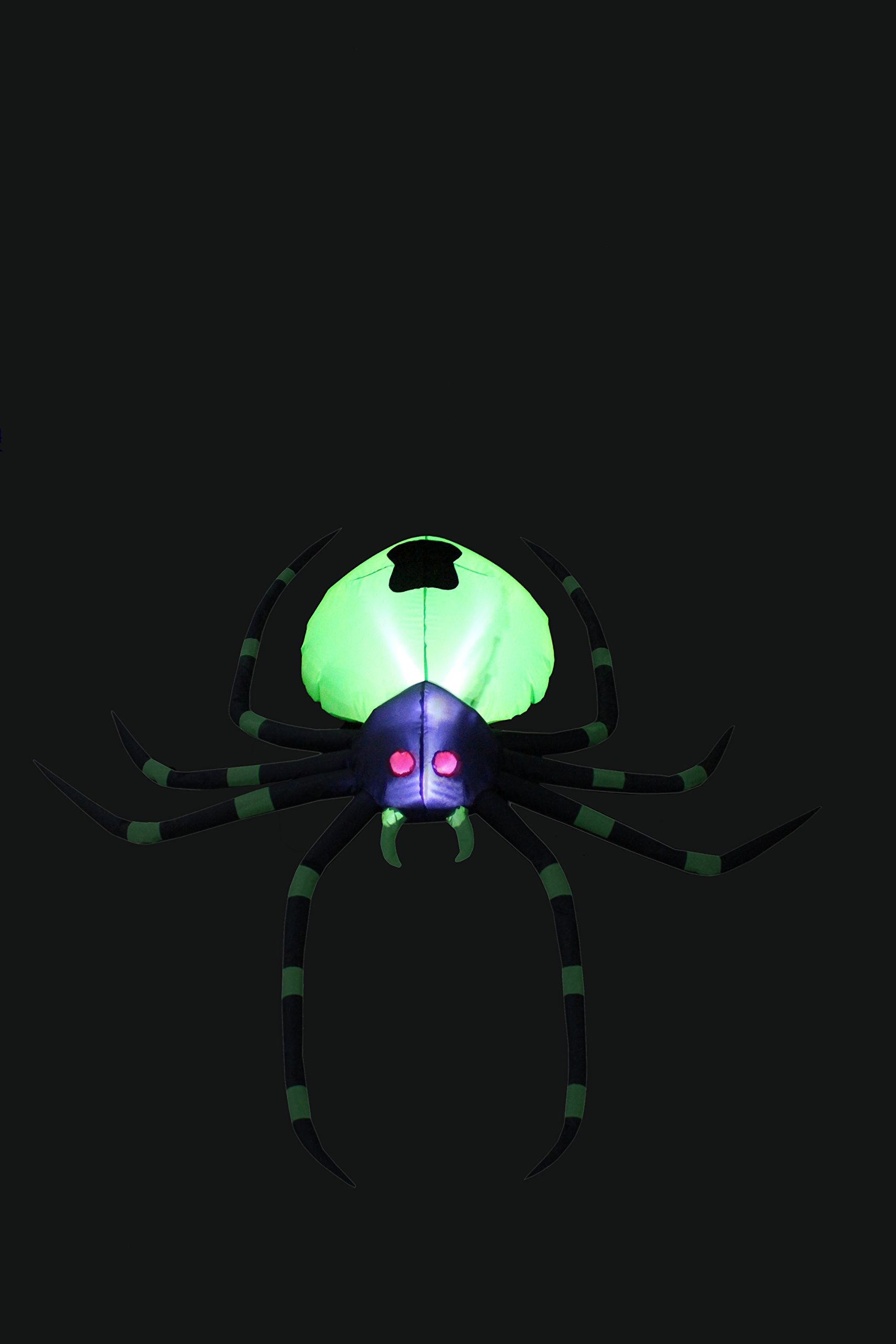 BZB Goods 6 Foot Long Halloween Inflatable Black Green Spider LED Lights Decor Outdoor Indoor Holiday Decorations, Blow up Lighted Yard Decor, Giant Lawn Inflatables Home Family Outside by BZB Goods (Image #3)